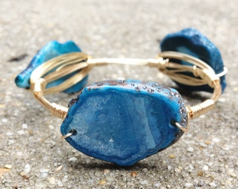 Gold Wire Wrapped Bangle with Blue Agate Stone, Bourbon and Boweties Inspired