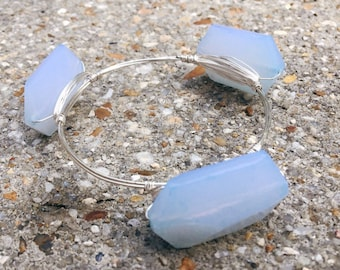 Silver Wire Wrapped Bangle with Light Blue Glass Beads, Bourbon and Boweties Inspired