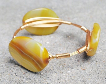 Gold Wire Wrapped Bangle with Brown Swirl Stone, Bourbon and Boweties Inspired Bangle