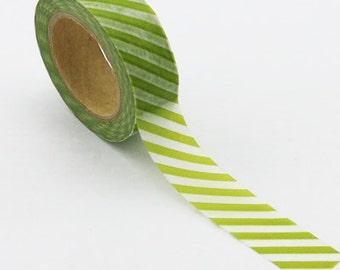 Washi Tape, Green & White Diagonal, 15mm x 10m