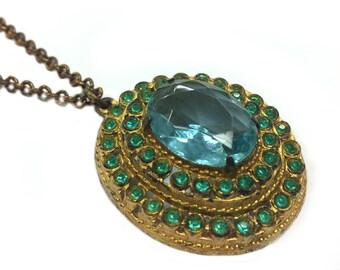 Green stone pendant etsy vintage green stone pendant vintage necklace green necklace aloadofball Choice Image