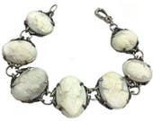 Antique Victorian Sterling and Carved Shell Cameo Bracelet | Romantic Gift