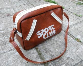 aa414b9a8246 Vintage Sport Bag   Vintage Bowling Bag   Sports Bag   Faux Leather Sports  Bag   Big Shoulder Bag   Unisex Travel Bag   Weekend Travel Bag