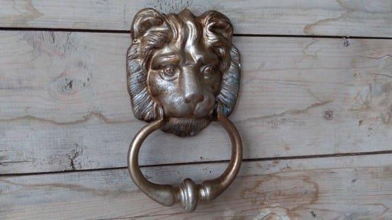 Vintage Lion Door Knocker Aluminum Lion Head Door Knocker Vintage Door Knocker Lion Face Door Handle Old Door Knocker