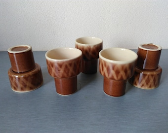 Vintage Pottery Tea Coffee Set / Old Coffee Service / Set of Five Brown Ceramic Tea Cups / Porcelain Coffee Service With Beautiful Designs.