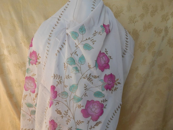 Vintage French Silk screened Scarf 1940's - image 2