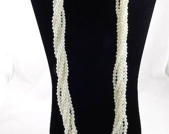 Vintage Multi Beaded Necklace Faux Pearls