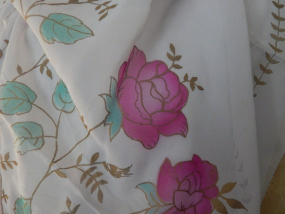 Vintage French Silk screened Scarf 1940's - image 3