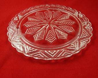 Vintage Cut Glass Cake Display Plate