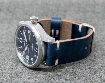 Leather Watch Band | The Hudson Strap | Horween Navy Chromexcel Cordovan Leather Watch Strap