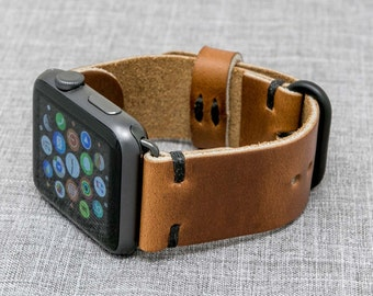Apple Watch Band   Horween Leather Whiskey Cavalier w/ Black Thread    The Hudson Strap for Apple Watch