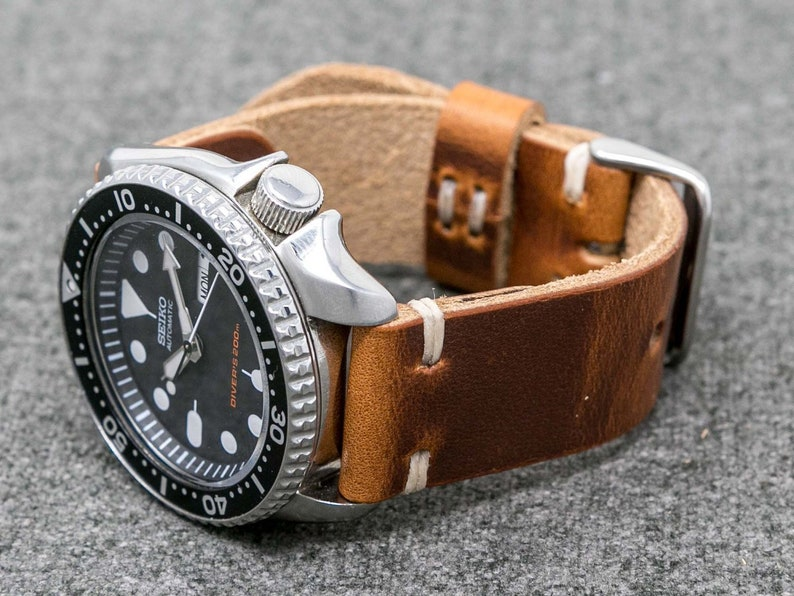 7b902f5bba4 Leather Watch Strap Vintage Style 18mm 20mm 22mm 24mm
