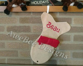 Personalized Christmas Fish Burlap Stocking for Cat with Red Bow