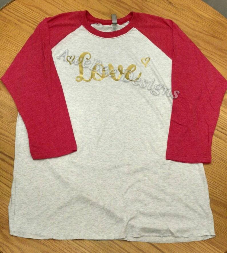 0287bbf8 Happy Valentine's Day Love Raglan Baseball Style T Shirt   Etsy