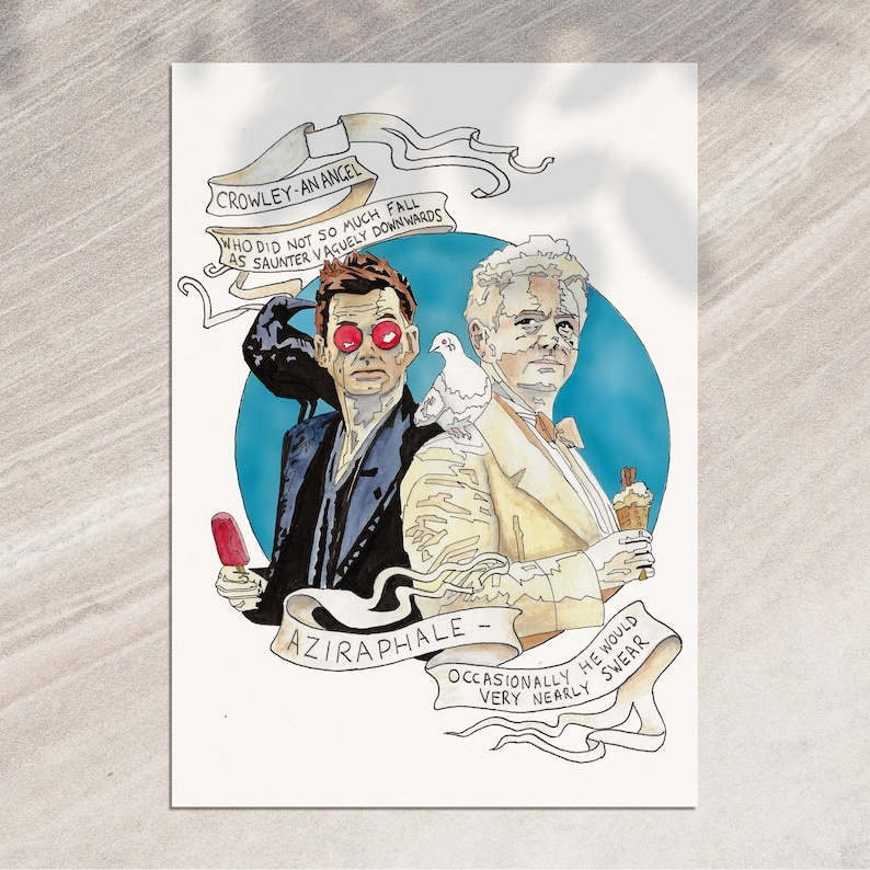 Good Omens, by Terry Pratchett and Neil Gaiman  Aziraphale and Crowley  featuring David Tennent and Michael Sheen