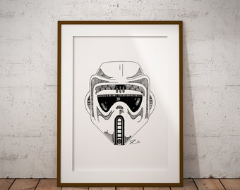 Star Wars Scout - Wall Decor - Artwork- Painting - Illustration - Home Decor - Kids Decor - Nursery Decor