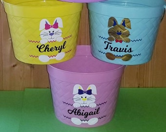 Personalized Easter Buckets, Easter Bucket, Easter Pail, Easter Bunny Bucket, Bucket, Pail, Egg Basket, Easter Basket, Easter Pail, Personal
