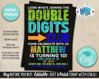 10th birthday invite etsy