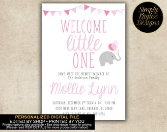 Welcome Little One Elephant Baby Viewing Party Invitation