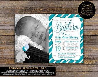 Boys Elephant Baptism Invitation