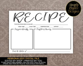 Black and White Recipe Card