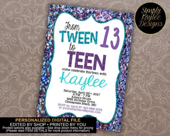 Tween To Teen Birthday Party Invitation 13th