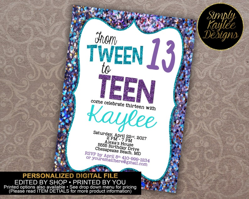 Tween To Teen Birthday Party Invitation 13th