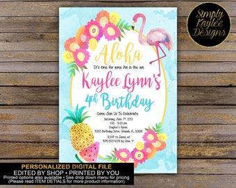 Aloha Beach Birthday Party Invitation