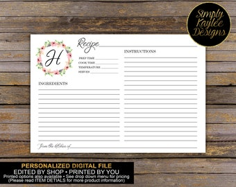 Monogram Floral Recipe Card