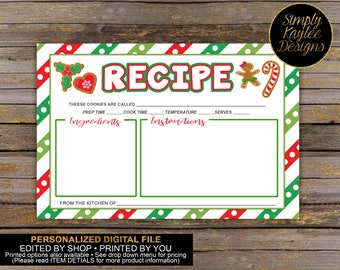 Christmas Cookie Exchange Recipe Card