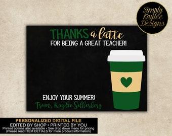 Thanks a Latte Teacher Gift Card Holder