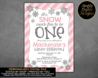 Snowflake First Birthday Invitation