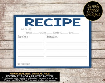 Basic Recipe Card