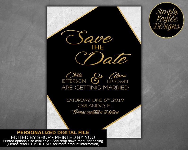 Gold Black and Marble Wedding Save the Date Cards