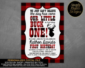Lumberjack Plaid Little Buck Birthday Party Invitation