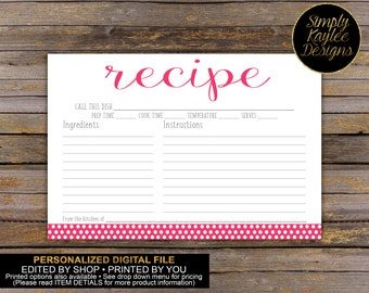 Polka Dot Recipe Card