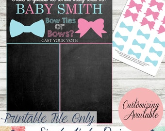 Bows and Bowties Gender reveal Party Game - Voting Game