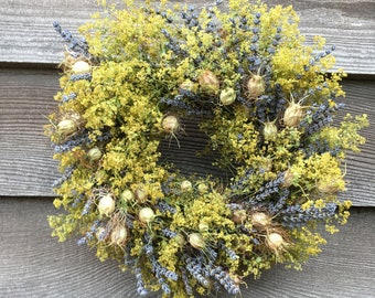 Lavender & love-in-the mist wreath