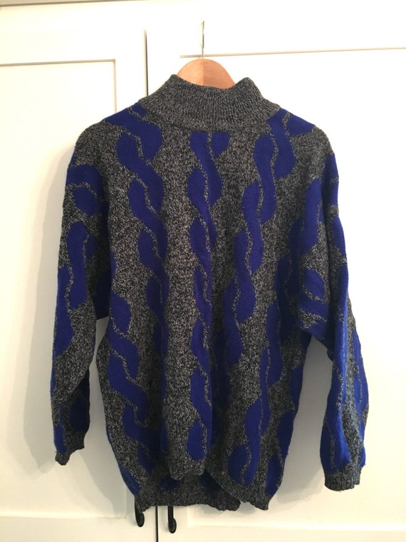 952a55fd1a5 Vintage 80s Benetton Pull Over Oversized Sweater   Blue Gray