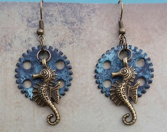 Seahorse Steampunk Earrings, Seahorse Earrings,  Blue Earrings, Boho Earrings, Bridesmaid Gift, Boho Jewelry Summer Earrings, Beach Earrings
