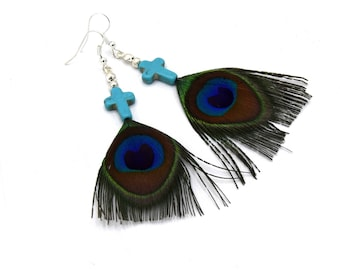 Earring Pearl turquoise cross, Peacock feather jewelry peacock feathers