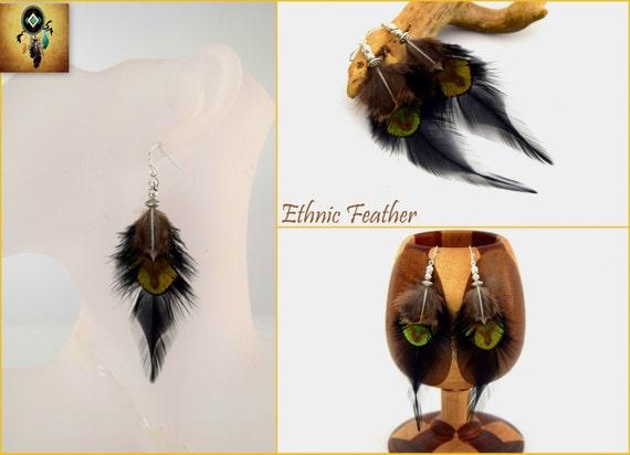 plume turquoise ray/ée noire Ethnic Feather ETHNIC FEATHER Bijoux ethniques Boucles doreilles plumes Oneida