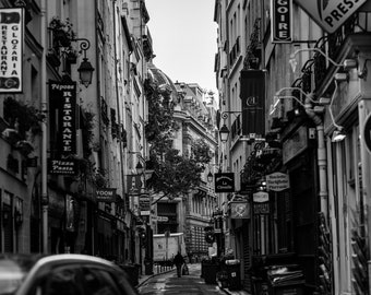 That Back Street Cafe, Fine Art Canvas Gallery Wrap, France, Paris, City, Back Alley, Black and White, BW