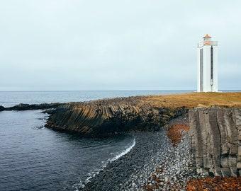 Basalt Cliffs, Fine Art Canvas Gallery Wrap, Iceland, Lighthouse, Shore, Basalt Rocks, Cliff