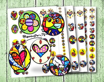 Romero Britto digital file for cabochon 30 x 40 mm 20mm 25 mm e 20mm - Instant Download