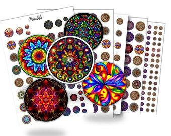 Mandala digital file for cabochon 30mm 25 mm e 20mm 12mm - Instant Download