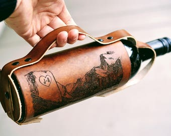 Leather Wine Carrier >> Leather Wine Carrier Etsy