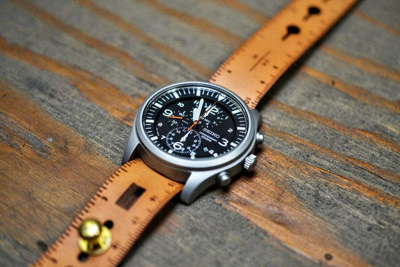 0bd58e845c7 Ruler Leather Stud Passthrough Watch Strap