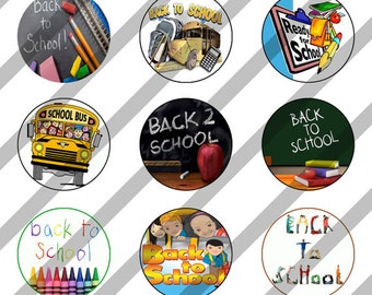 Back to School digital collage sheet 4x6 for bottlecaps - 1 inch - INSTANT DOWNLOAD