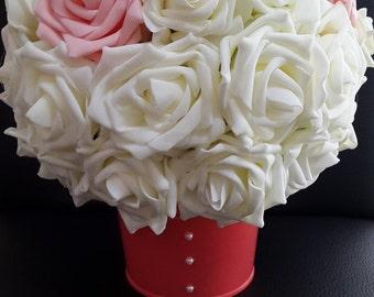 Shabby chic flower centrepiece